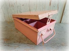 Vintage Pink Industrial Storage Box with by AntiqueShopGirl, $42.00