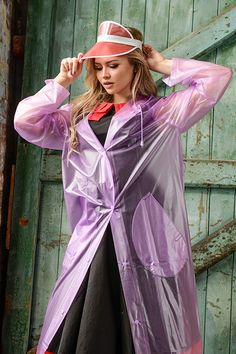Massive range of womens and mens PVC and plastic clothing. PVC fashion and fetish clothes. Rainwear, raincoats, PVC clubwear, PVC underwear, fantasy clothes and uniforms. PVC bed sheets and accessories. Pink Raincoat, Plastic Raincoat, Imper Pvc, Fashion Mask, Raincoats For Women, Rain Wear, Fashion Outfits, Womens Fashion, Vinyls
