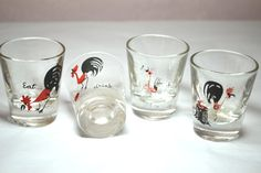 Items similar to Feisty Rooster Shot Glasses Vintage Mid Century Set of 4 Barware - Eat, Drink and Be Merry. - on Etsy Cartoon Rooster, Have A Lovely Weekend, Shot Glasses, Vintage Glassware, Barware, Mid Century, Merry, Crafty, Drinks