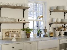 Really like the look of some kitchen  shelves instead of all cabinets.
