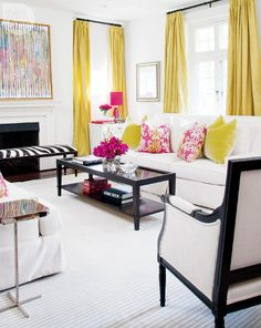 Decorating with pink - Style At Home Bet you never thought of mixing pink with yellow. But you can, and the results can look stunning. You don't need a lot of bold pink either. In this room, hot pink and nearly neon yellow play nicely together. Note that only some pillows, the flowers and a single lamp impart a huge burst of pink. If you swapped them for, say, cream or soft green, the look would be entirely muted