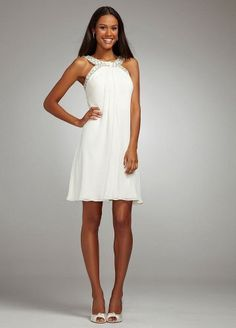 David's Bridal Wedding Dress: Short Flowy Chiffon Dress with Crystal Beading $119.00; sweet dress for the Vegas wedding