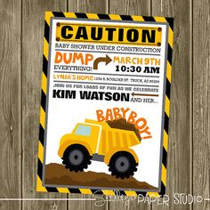Construction Baby Shower Invitation