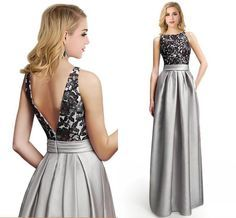 Long Formal Dresses 2016 New Silver Lace Satin Evening Dresses Sexy Appliques Backless Sleeveless A Line Prom Gowns Arabic Party Dresses Evening Wear Plus Size Silver Bolero Jackets For Evening Dresses From Cc_bridal, $84.3  Dhgate.Com