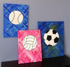 Soccer ball, volleyball, baseball canvas paintings.