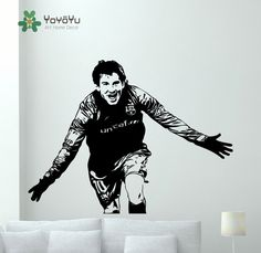 Lionel Messi Wall Decal Football Vinyl Sticker Art Kids Bedroom Soccer Decor Mural Football Star Player Decal NY-41