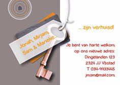 Verhuisd label sleutel koper, verkrijgbaar bij #kaartje2go voor €0,99