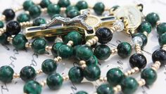 Handmade Rosary Beads in Gorgeous Malachite by BlueMantleCreations, $77.00