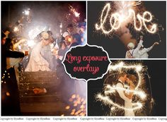 Long Exposure Photo Overlays - Photoshop Wedding Sparklers layer - Light words shapes - Lighter Effect for Christmas mini Sessions