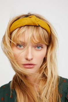 Yellow Ribbed Knot Headband at Free People Clothing Boutique