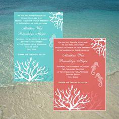Coral Reef Seahorse Wedding Or Bridal Shower Invitation