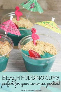 Cute Beach Themed Snacks for All Your Summer Parties - These adorable beach pudding cups are a great beach pudding snack! The also make great beach party - Dessert Party, Beach Party Desserts, Beach Theme Snacks, Snacks Für Party, Beach Themes, Summer Party Themes, Summer Parties, Beach Party Ideas For Kids, Summer Party Foods