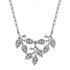 2028 Elegance Silver-Tone Crystal Navette Vine Leaf Statement Necklace