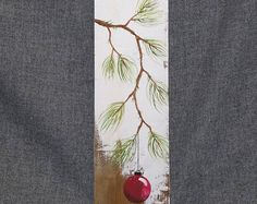 Christmas decor, Pallet Christmas art, Red Christmas decoration, hand painted Pine with RED Bulb, Reclaimed barnwood, Pallet art, Shabby