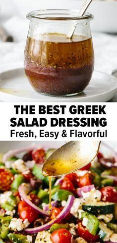 Best Greek Salad, Greek Salad Recipes, Salad Dressing Recipes, Healthy Salad Recipes, Easy Greek Dressing Recipe, Salad Dressing Homemade, Salad Dressing Healthy, Salad Dressings, Mediterranean Salad Dressing