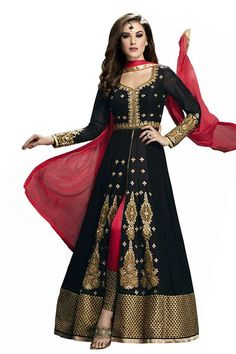 S N SILK MILLS SEMI-STITCHED BLACK GEORGETTE ANARKLAI SALWAR SUIT