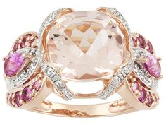 Cor-de-rosa Morganite And Pink Tourmaline 4.62ctw With Diamond Accent Round 10k Rg Ring