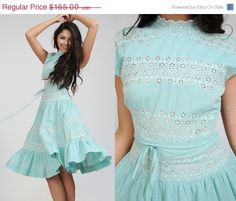 SALE vintage 50s EYELET mint Full Skirt Dress XS S pastel cap sleeve embroidered cotton on Etsy, $123.75