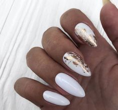 Milky nails with golden details Inspirational women # fashionaccessories . - Milky nails with golden details Inspirational ladies # fashionaccessories - White Nails With Gold, White Nail Art, Elegant Nails, Stylish Nails, Milky Nails, Gold Nail Designs, Party Nails, Foil Nails, Nails With Foil