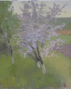 ivan skorobogatov oil on canvas Apple blossoms 2016