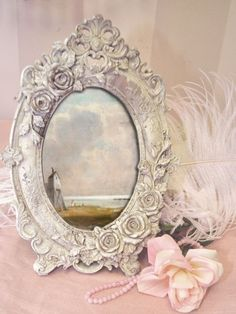 lovely white mirror shabby chic colors