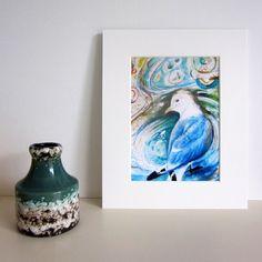 Mounted print, Kittiwake seagull, bird art £12.50