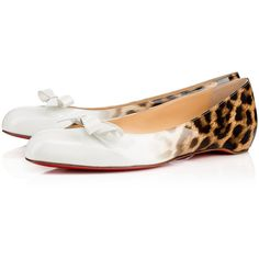 VINODO PATENT DEGRADE LEOPARD  Latte-Leopard Patent calfskin - Women... ($585) ❤ liked on Polyvore featuring shoes, print shoes, patent flat shoes, bow shoes, leopard print shoes and flat shoes