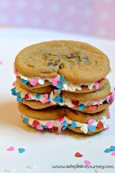 heart shaped cookie sandwich