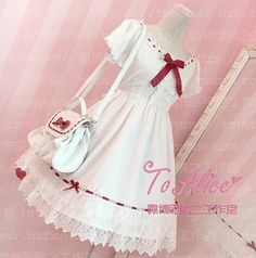 $35.99 Super Cute Girls White Lace Dress Red Ribbon Big Bow Short Sleeve Lolita Dress with 2 Hairbands