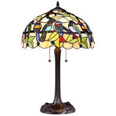 Tropical Birds Robert Louis Tiffany Table Lamp - Style # W7860