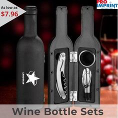 Promotional 4 piece Grigio wine bottle sets will help to stir holiday spirit in your regular and duller promotions. Each wine bottle set features a waiter corkscrew, drip ring, pourer/stopper combination and spray rubber wine bottle case. These Grigio Staff Motivation, Wine Case, Office Items, Client Gifts, Unique Christmas Gifts, Business Card Holders, Corporate Gifts, Special Gifts, Flash Drive