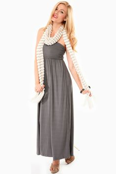 Dark Grey Ruched Strapless Maxi @ Cicihot sexy dresses,sexy dress,prom dress,summer dress,spring dress,prom gowns,teens dresses,sexy party w...