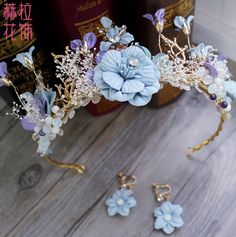 22.75$  Watch here - http://alim4c.shopchina.info/go.php?t=32748359530 - 2016 blue Flower Bridal Headband Handmade Wedding Hair Vine Tiara Accessories Women Headpiece bridal hair jewelry   #magazineonlinewebsite