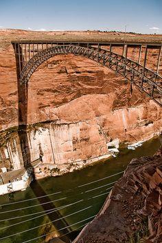 Glen Canyon Dam bridge, Page, Arizona Bryce Canyon, Glen Canyon Dam, Grand Canyon, Mackinac Bridge, Voyage Usa, Road Trip, Lake Powell, Seen, Covered Bridges