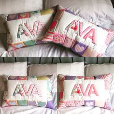 Em Teacup patchwork/ appliqué quilted name pillows made to order