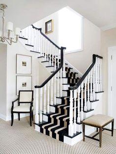 Staircase Design Ideas Love this black and white striped stair runner Design Entrée, House Design, Design Ideas, Life Design, Grill Design, Design Room, Design Bathroom, Design Concepts, Garden Design
