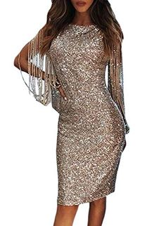 Dearlove Kurze Abendkleider Glitzer Cocktailkleid Festliches Kleid Damen  Elegante Glänzend Fransen Langarm Partykleider für Hochzeit Abend d45f3a5a53