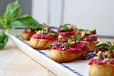 Beet Tahini Crostini - What Jew Wanna Eat - must find gluten free baguette recipe!! But this would make a great dip for veggies too.