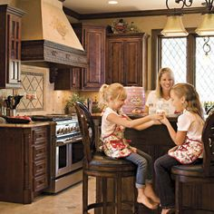 ❥ Tuscan Kitchen. This homeowner made great finish choices, from an aged stucco treatment on the walls to alder wood cabinets and porcelain floors.