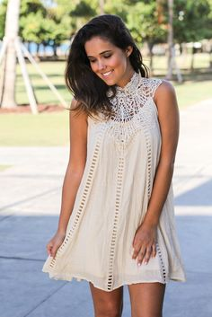 da87dae1ad8 Natural Crochet Short Dress with Cut Out Detail