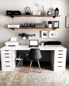 homedecor office Modern Home Office Design Ideas. Therefore, the demand for home offices.Whether you are intending on adding a home office or renovating an old area right into one, below are some brilliant home office design ideas to aid you get started. Study Room Decor, Cute Room Decor, Room Ideas Bedroom, Home Decor Bedroom, Ikea Bedroom, Home Office Setup, Home Office Space, Ikea Office, At Home Office Ideas