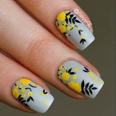 18 Creative Ways Update You Mani With Yellow Flowers Nail Art ❤️ Yellow Begonia Nail Art ❤️ Yellow flowers are many, and all of them are undoubtedly fabulous! Yellow Nail Art, Floral Nail Art, Daisy Nail Art, Yellow Nails Design, Cute Nail Art Designs, Nail Art Flowers Designs, Hair And Nails, My Nails, Uñas Fashion