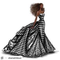 African Prom Dresses, Latest African Fashion Dresses, African Print Fashion, Dress Design Sketches, Fashion Design Sketches, Sketch Fashion, Fashion Drawings, Dress Designs, Fashion Art
