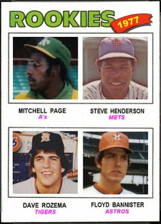 1977 Topps Rookies: Page, Henderson, Rozema, Bannister Washington Nationals Baseball, Pittsburgh Pirates Baseball, Pro Baseball, Baseball Players, Baseball Cards, Philadelphia Athletics, Oakland Athletics, Sandlot, Baseball Pictures