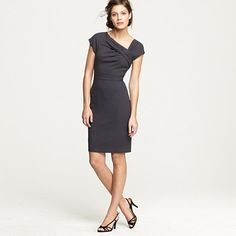 Origami sheath dress in wool crepe by J.Crew in dark charcoal $188 #dresses