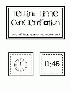 Time flash cards. Print, laminate and cut. Kids match time to clocks for center.