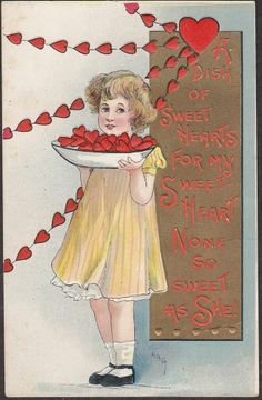 S9341 HBG postcard, Girl with plate of hearts, Valentines Day, L&E 2267, written