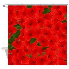 Floral Shower Curtain - tropical, hibiscus, red