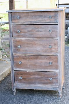 Primitive & Proper: Rustic Glam Washed Dresser with Gorgeous Glass Knobs