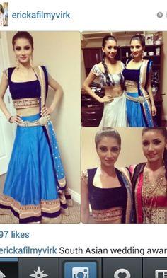 Royal blue lehenga by Crossover Bollywood se
